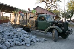 Burma old truck stone